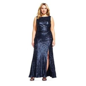 ADRIANNA PAPELL SEQUIN COWL BACK SLEEVELESS GOWN
